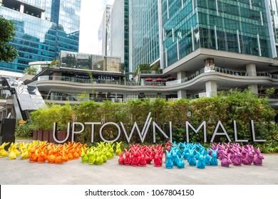 Manila Philippines - Apr 9,2018 rabbit dolls decoration at Uptown mall in Fort Bonifacio