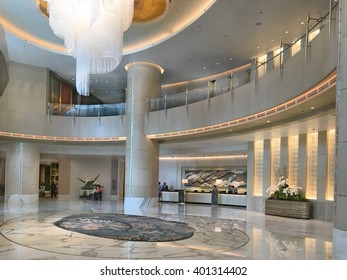 MANILA, PHILIPPINES - APRIL 2, 2016: Shangri-La at the Fort Lobby. The luxury hotel and mixed use building is one of the tallest structures in Manila.