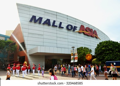 MANILA, PHILIPPINES - APRIL 20, 2015: The main gate logo of SM Mall of Asia. SM Mall of Asia is ranked the 11th largest mall in the world.