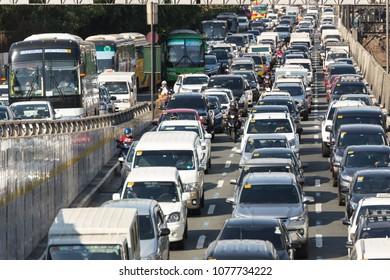 Manila, Philippines - April, 26 2018: Very heavy traffic on EDSA street in rush hour