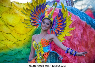MANILA , PHILIPPINES - APRIL 27 :Participant in the Aliwan fiesta in Manila Philippines on April 27 2019. Aliwan is an annual event that gathers different cultural festivals of the Philippines
