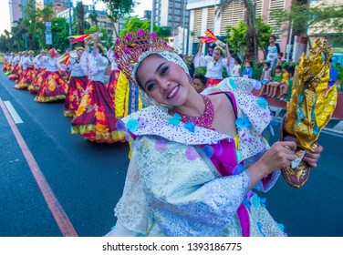 MANILA , PHILIPPINES - APRIL 27 :Participants in the Aliwan fiesta in Manila Philippines on April 27 2019. It's an annual event that gathers different cultural festivals of the Philippines