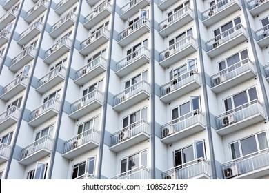 Manila, Philippines - April 28, 2018: Facade of the new build condominium, taken near MOA, Manila, Philippines.
