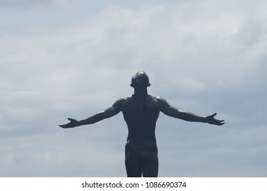 Manila, Philippines; April 8, 2018: The iconic Oblation statue at the University of the Philippines' flagship campus in Diliman, Quezon City. Replicas can be found in other U.P. campuses nationwide.
