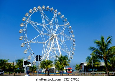 MANILA, PHILIPPINES - Aug 4, 2016: Ferris wheel at Mall of Asia in Manila. The ferris wheel is situated near Manila Bay and is a popular attraction in the area.