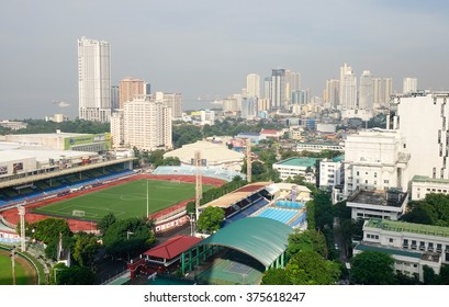 Manila, Philippines - Dec 20, 2015. View of Makati skyline in Manila, Philippines. Manila is the second most populous city in the Philippines with a population of 1,652,171.