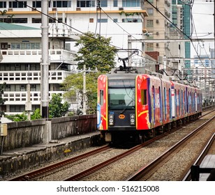 Manila, Philippines - Dec 20, 2015. LRT railtrack at EDSA train station in Manila, Philippines. LRT serves 579,000 passengers each day.