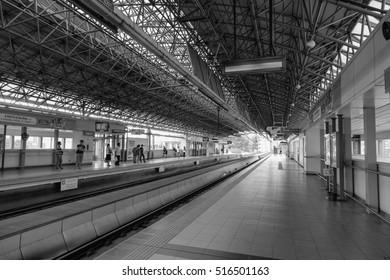 Manila, Philippines - Dec 20, 2015. Rail track at EDSA train station in Manila, Philippines. LRT serves 579,000 passengers each day.
