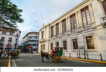 Manila, Philippines - Dec 21, 2015. Old building at Intramuros district in Manila, Philippines. Intramuros was designated as a National Historical Landmark in 1951.