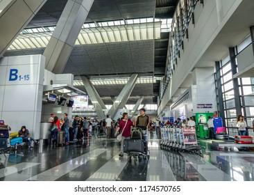 Manila, Philippines - Dec 21, 2015. Interior of NAIA Airport in Manila Philippines. In 2017, NAIA handled a record-breaking annual passenger traffic of 42 millions.