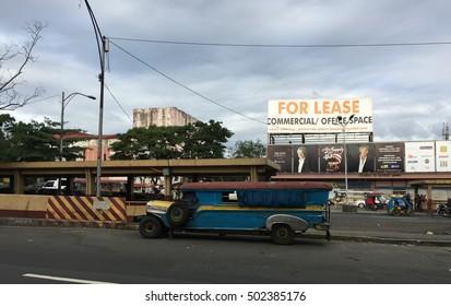 Manila, Philippines - Dec 21, 2015. A jeepney parking on street in Manila, Philippines.