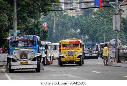 Manila, Philippines - Dec 21, 2015. Traffic on street at downtown in Manila, Philippines. Manila is the center of culture economy education and government of the Philippines.