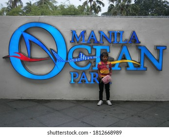 Manila Philippines December 24 2014: Sign with small child at manila ocean park