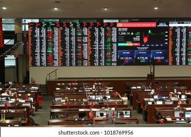 MANILA, PHILIPPINES - DECEMBER 7, 2017: Philippine Stock Exchange trading floor in Makati City, Metro Manila, Philippines. PSE trades more than 340 companies.