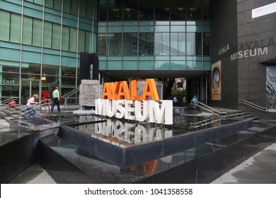 MANILA, PHILIPPINES - DECEMBER 7, 2017: People visit Ayala Museum in Makati City, Metro Manila, Philippines. Metro Manila is one of the biggest urban areas in the world with 24 million people.