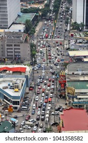 MANILA, PHILIPPINES - DECEMBER 7, 2017: Typical traffic congestion in Poblacion Makati, Philippines. Metro Manila is one of the biggest urban areas in the world with 24 million people.
