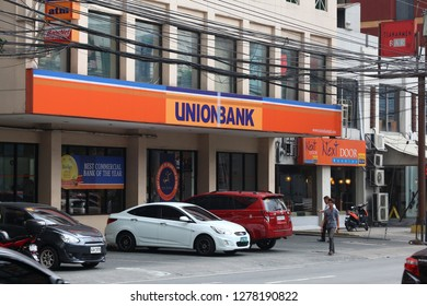 MANILA, PHILIPPINES - DECEMBER 7, 2017: Union Bank branch in Manila, Philippines. It is the 7th largest bank in Philippines by assets.