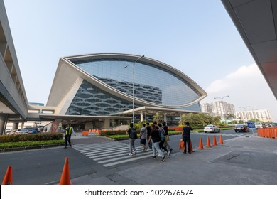 Manila, Philippines - Feb 10, 2018 : Mall of Asia Arena facade. it is an indoor arena within the SM Mall of Asia complex in Pasay, Manila, Philippines