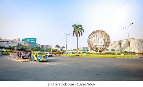 Manila, Philippines - Feb 10, 2018 : Main gate of Mall of Asia with Globe Rotunda in Pasay, Manila, Philippines.