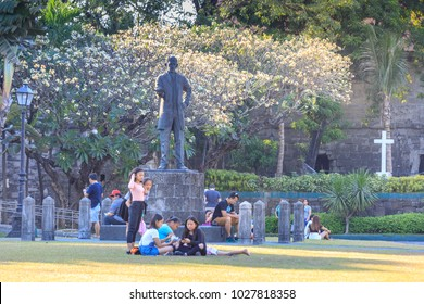 Manila, Philippines - Feb 17, 2018 : Rizal statue at Fort Santiago, Intramuros district, Manila city