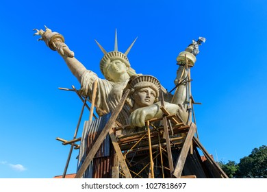 Manila, Philippines - Feb 17, 2018 : Lady Liberty sculpture at Spanish colonial Fort Santiago in Manila, Philippines