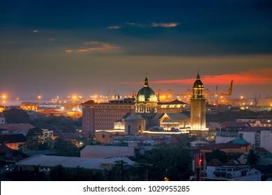 Manila, Philippines - Feb 17, 2018 : Manila Cathedral during sunset, Intramuros, Manila, Philippines