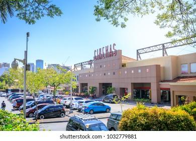 Manila, Philippines - Feb 24, 2018 : Building of Alabang town center cinemas in Manila city