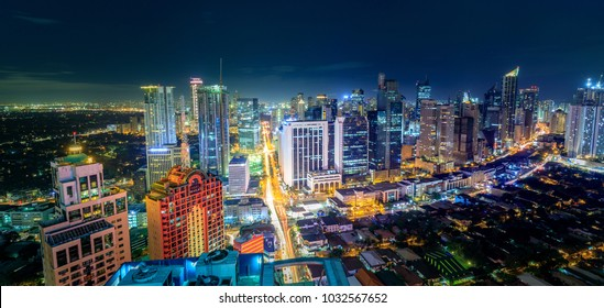 Manila, Philippines - Feb 25, 2018 : Eleveted, night view of Makati, the business district of Metro Manila