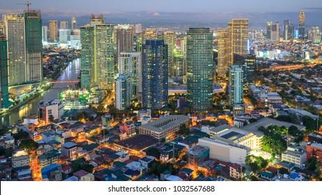 Manila, Philippines - Feb 25, 2018 : Eleveted, Night view of Rockwell, View from P Burgos Makati in Metro Manila, Philippines