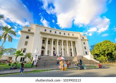 Manila, Philippines - Feb 4, 2018 : National Museum of Fine Arts of the Philippines facade near Rizal park in Metro Manila