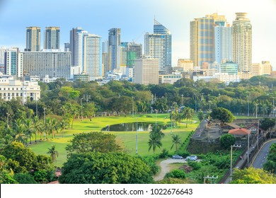 Manila, Philippines - Feb 4, 2018 : Manila city skyline in Philippines. Ermita and Paco districts seen from Intramuros.