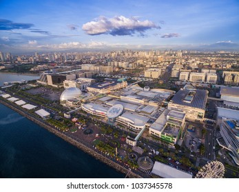 MANILA, PHILIPPINES - JANUARY 18, 2018: SM Mall of Asia in Bay City, Pasay, Manila, Philippines. Beautiful Cityscape and one of the largest Mall in Asia