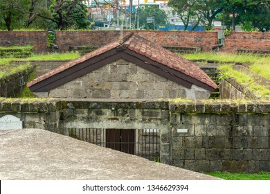 Manila, Philippines / January 4, 2019: Ruins of old Fort Santiago. Ruined Spanish Fort. Fort Santiago is a citadel which was first built by Spanish conquistador for the new established city of Manila.