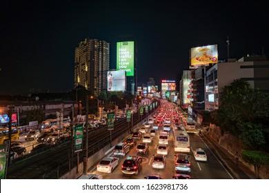 Manila, Philippines - January 6, 2020: Night traffic jam in Manila, capital city of Philippines.