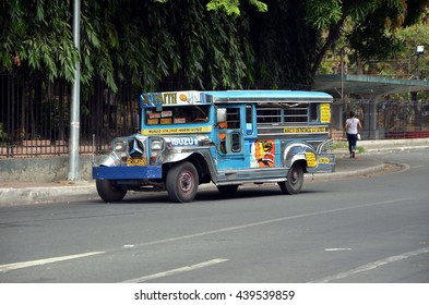 MANILA, PHILIPPINES - JUNE 15, 2016 - Colorful Jeepney in Manila. Jeepneys, sometimes called simply jeeps, are the most popular means of public transportation in the Philippines