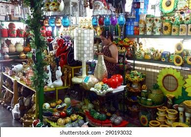 manila philippines june 22 2015 flea market stores in dapitan arcade known