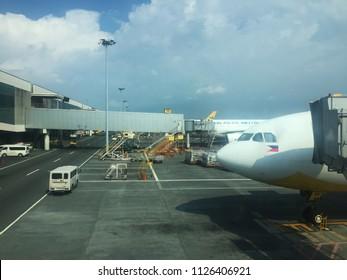 MANILA, PHILIPPINES - JUNE 22, 2018: Cebu Pacific Airlines is landing at Ninoy Aquino International Airport or NAIA.
