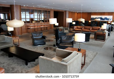 MANILA, PHILIPPINES – JUNE 6 2016: The Cathay Pacific Lounge at Manila Ninoy Aquino International Airport welcomes business class and first class passengers.