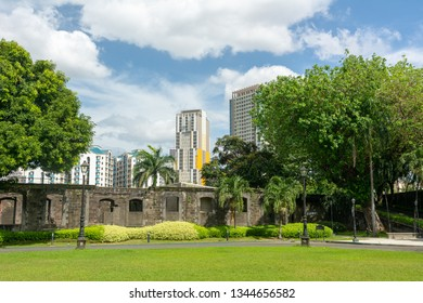 Manila, Philippines. Manila's cityscape view from Media Naranja the large semicircular gun platform in Fort Santiago, Intramuros district of Manila.