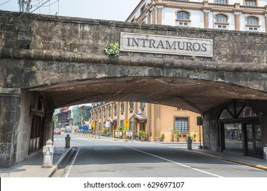 Manila, Philippines - March 25, 2017.  Street view inside at Intramuros city in Manila, Philippines.