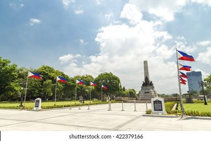 Manila, Philippines - May 2, 2016: Monument in memory of Jose Rizal, national hero in Luneta park