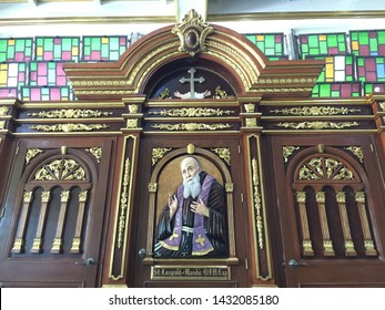 Manila, Philippines; May 25, 2019: An elaborately designed confessional box inside the St. Francis Church in Mandaluyong City.
