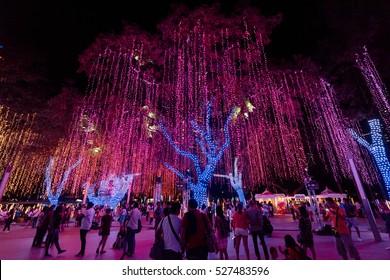 Manila, Philippines - November 28, 2016: Visitors are enjoying the Ayala Triangle Gardens Christmas Lights & Sounds Show .