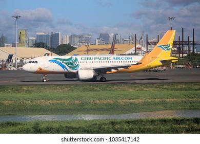 MANILA, PHILIPPINES - NOVEMBER 28, 2017: Cebu Pacific Air Airbus A320 at Ninoy Aquino International Airport (NAIA), Manila. The airport handles 36.7 million passengers annually (2015).