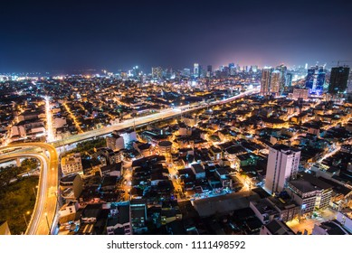 Manila, Philippines - November 30, 2015, Areal night view from apartment of Makati district of Manila - business and shopping city