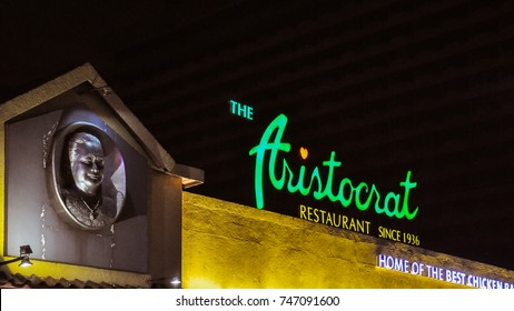 Manila, Philippines - Oct. 27, 2017: The Aristocrat restaurant. Founded in 1936, the Aristocrat is a popular Filipino restaurant with nine branches in Manila, Subic Bay and San Pablo, Laguna.