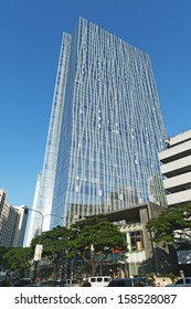 Manila, Philippines - October 15, 2013: Zuellig Building in Makati.  The Zuellig Building is an office skyscraper constructed in Makati City, Philippines.