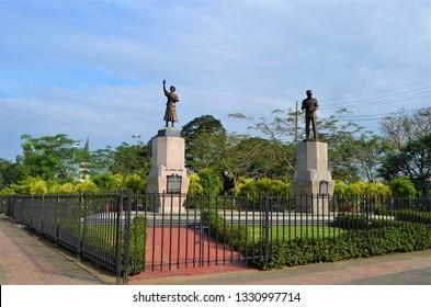 Manila, Philippines on January 15, 2015. The monument of the husband and wife, President Corazon Aquino and political leader Benigno Aquino Jr. in a small square near Luneta Park.