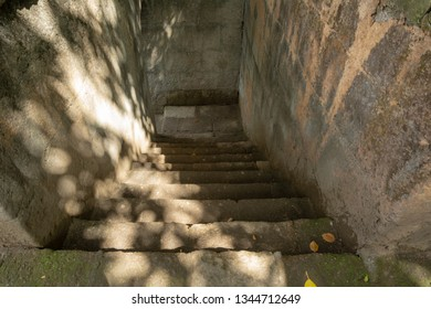 Manila, Philippines. Ruins of old Fort Santiago. Ruined Spanish Fort. Fort Santiago is a citadel which was first built by Spanish conquistador for the new established city of Manila. Stairs down.