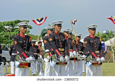 Manila, Philippines-June 12: Philippine Marine Bugle Corp presentation during Philippine Independence Day in Manila Philippines June 12.